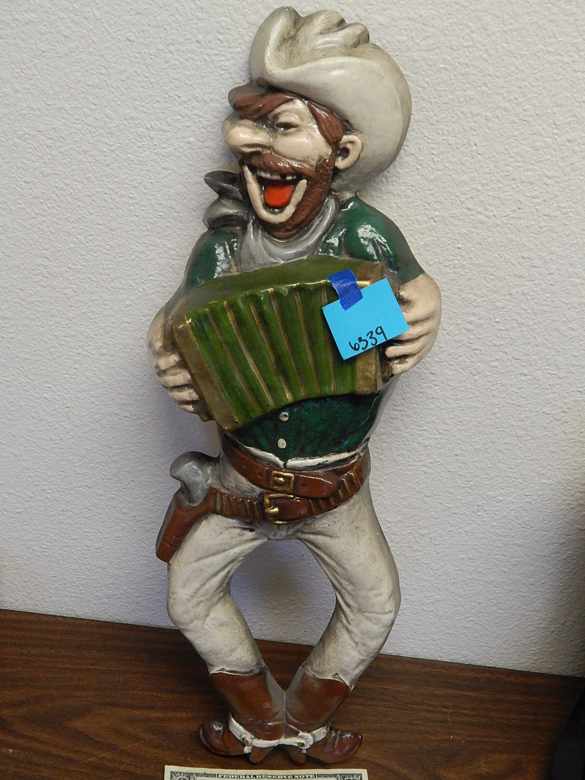 BD6339- Vintage Large Chalk Made Cowboy Wall Hanging 22 Inches Tall