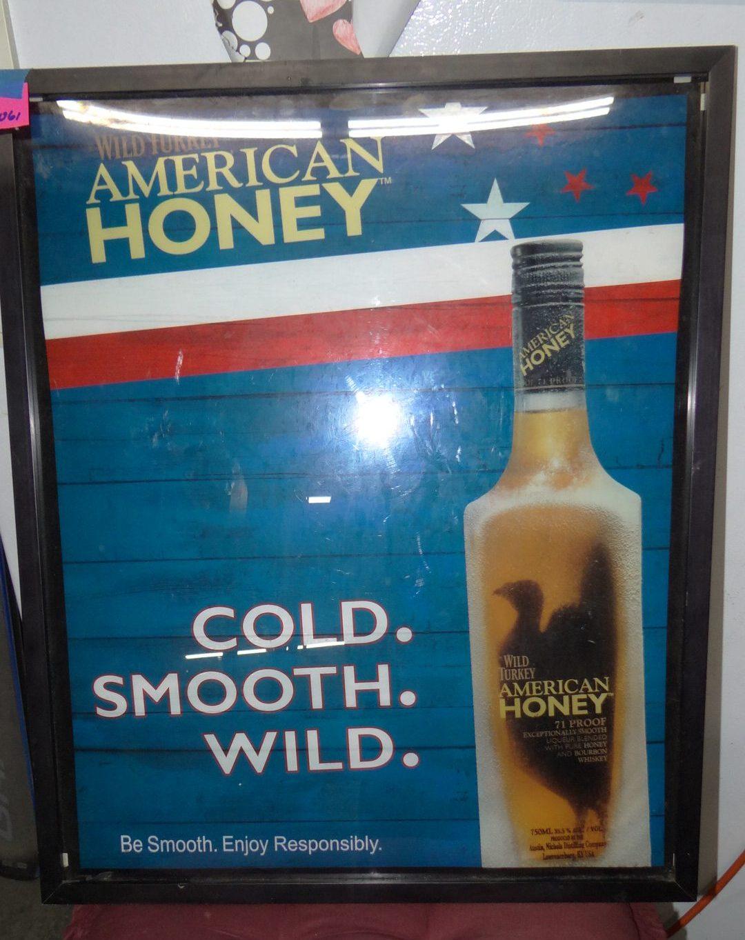 1061-Wild Turkey American Honey Framed & Lighted Sign 24in x 20in