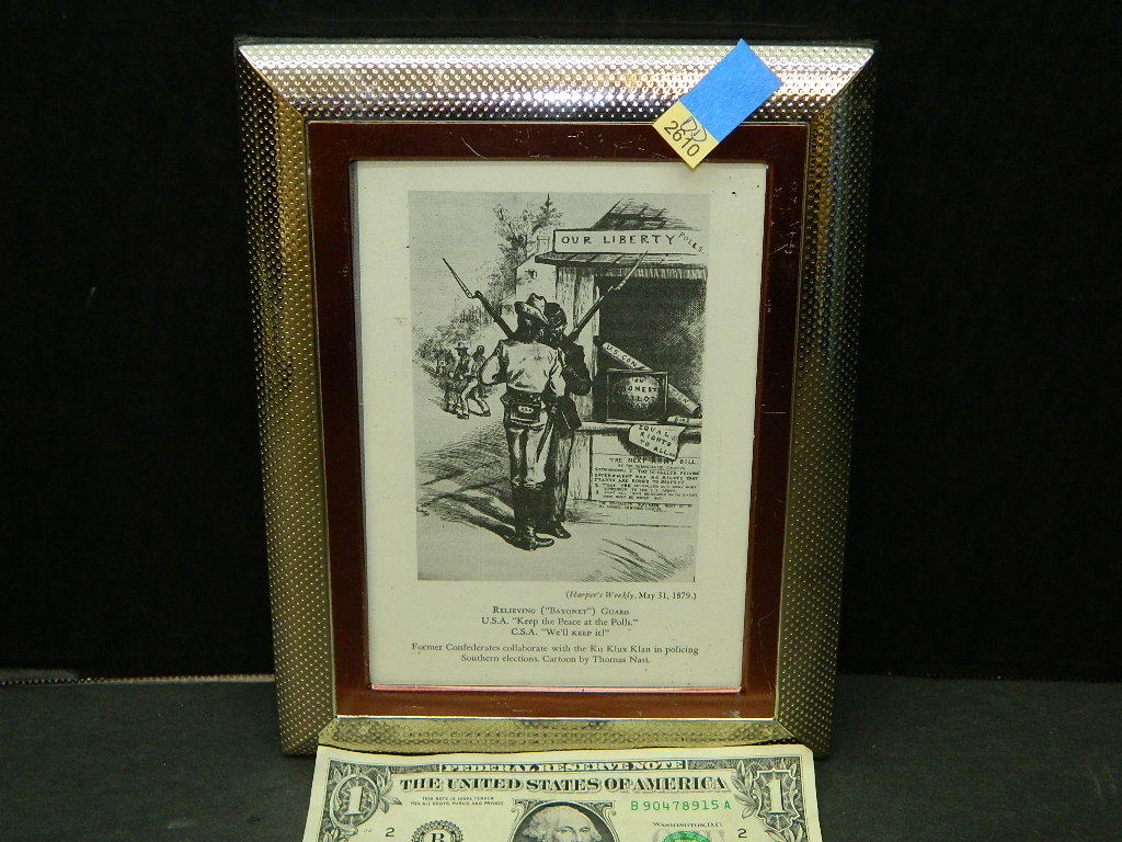 DD2610- Framed 'Former Confederates Collaborate w/ the Ku Klux Klan in Policing Southern Elections. Cartoon by Thomas Nast Black and White Print VERY NEAT 7x9 Inches