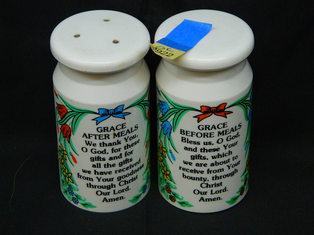 OE2922- Pair of Large Plastic 'Grace Before and After' Religious Themed Vintage Salt and Pepper Shakers w/ Stoppers 'Made in Hong Kong' 3.5 Inches Tall