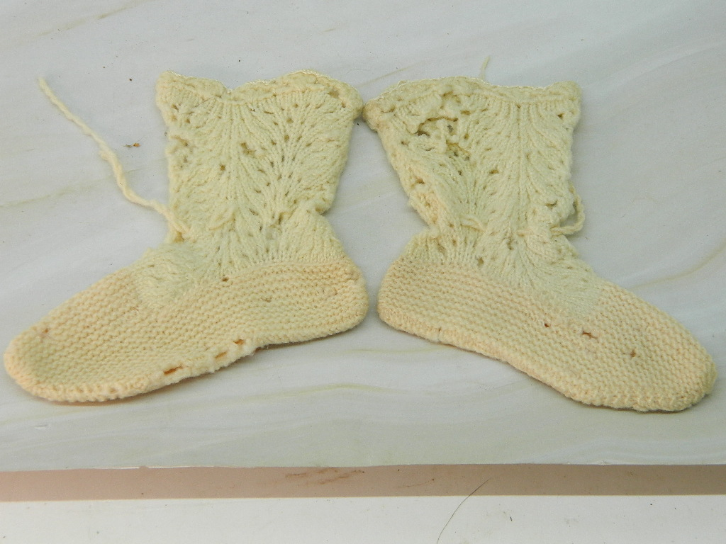 OE6166- Pair of Antique Crochet Made Baby Booties 'Damaged'