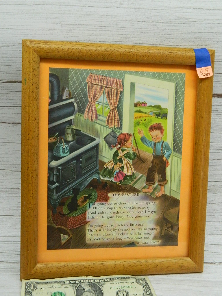 OE6281- Vintage Framed 'The Pasture' SUPER CUTE Children's Story Picture '9x11 Inches;