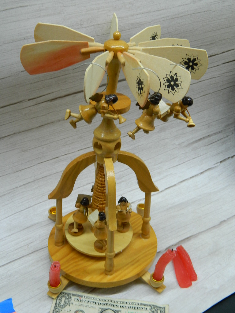 SG7226- Beautiful Vintage Wooden Made Denmark Themed Choir Angel Windmill Gazebo Candle Holder Needs a Little Work '14in Tall'