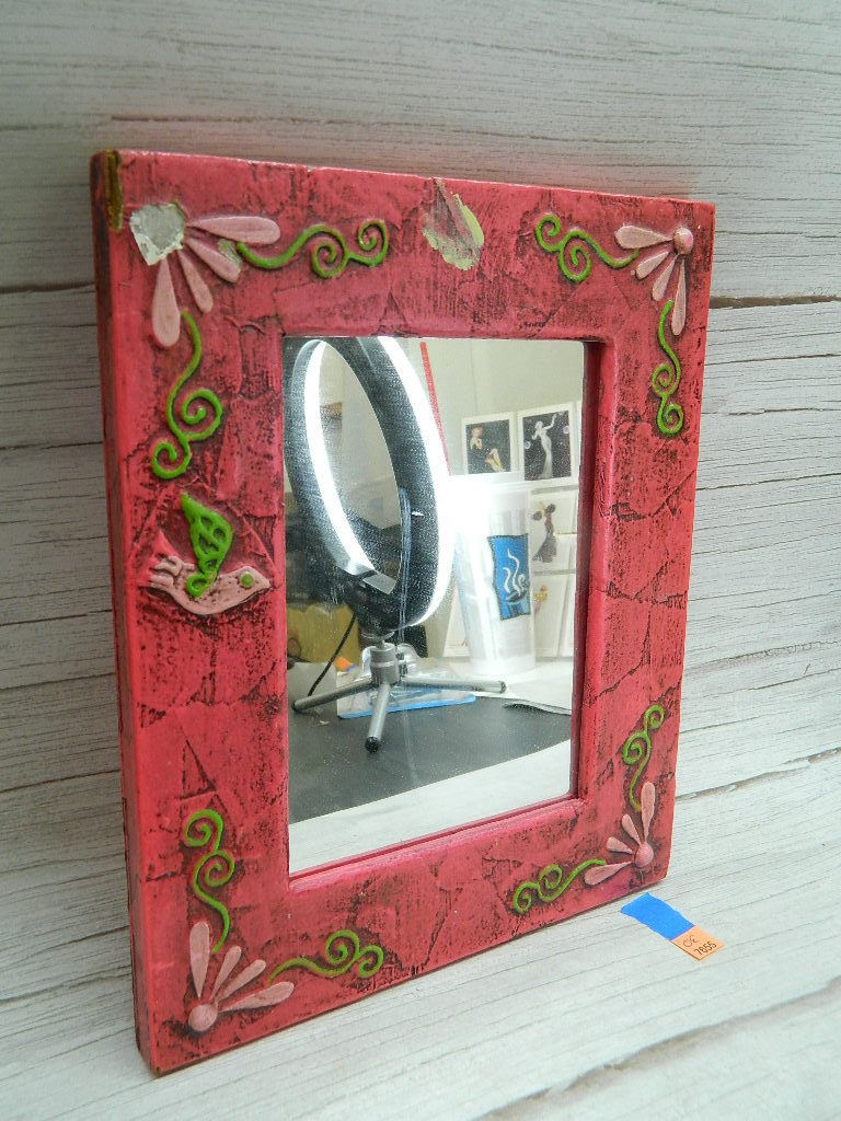 OE7655- Super Cute Painted Pink Wooden Framed Small Mirror Minor Damage '9x11in'