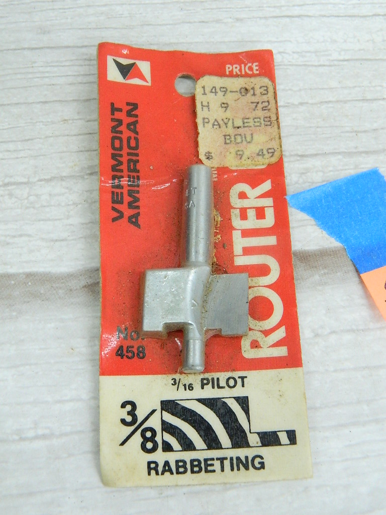 OE7658- NEW IN PACKAGE 'Vermont American 3/8 NO.458 3/16' Rabbeting Pilot Router