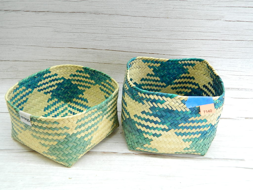 AA7140- Neat Blue and Brown Geometric Design Weaved GLOBE IN Pair of Baskets or Container '4x5.5x5.5in'