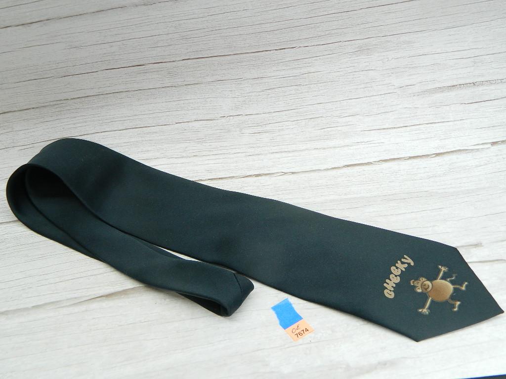 OE7674- MEN'S 100% Polyester Black 'Cheeky' Funny Monkey Tie