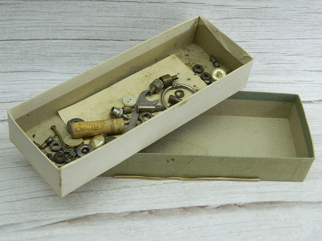 BH7711- Collection of WWII Era Small Trinkets Tools and More in Paper Box w/ Lid