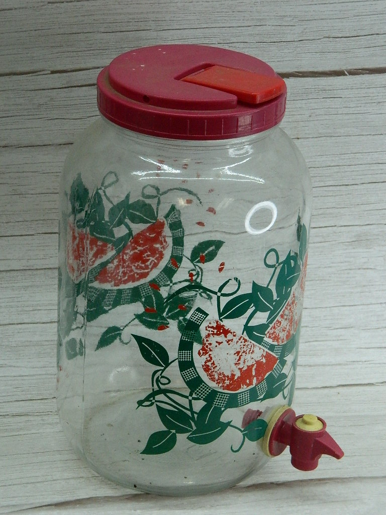 FL7726- Watermelon Themed Painted Glass Tea or Juice Dispenser Container W/ Lid and Spout '10.5in Tall'