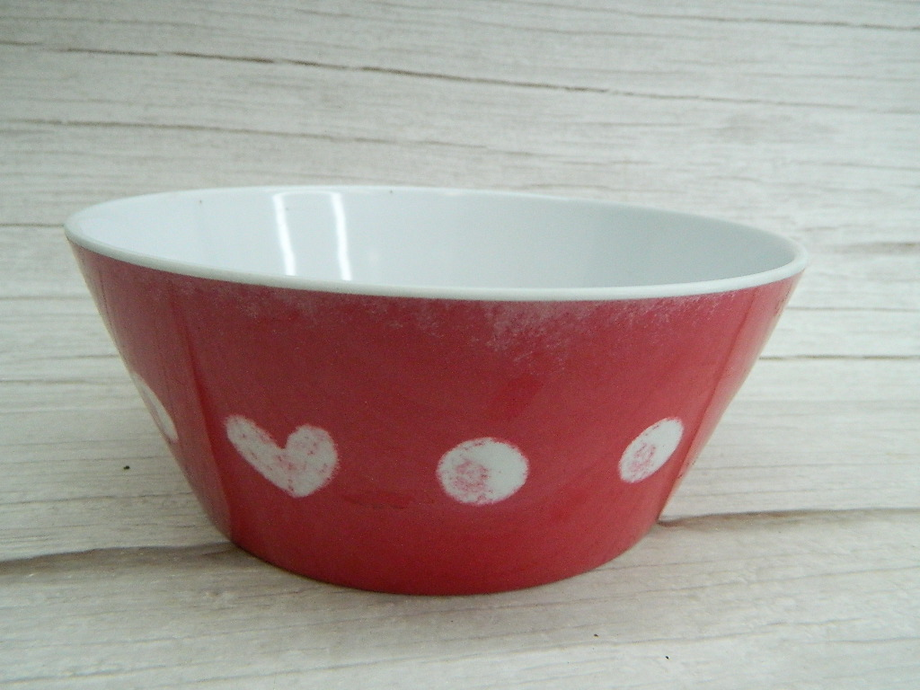 CO7766- Super Cute Red and White Heart Themed Small Animal Food or Water Bowl '2.5x6.25in'