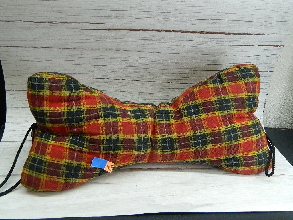 OE7792- Large Super Cute Red Plaid Dog bone Shaped Back Brace Pillow '8x17in'