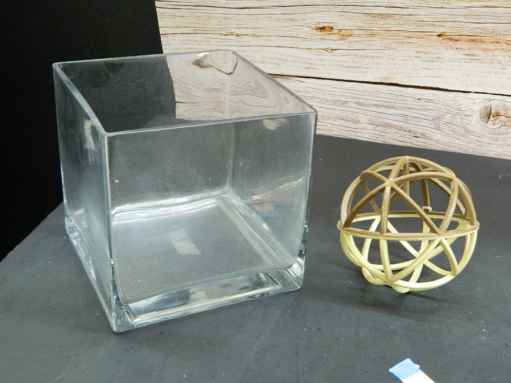 FL7863- Large Heavy Clear Glass Square Shaped Decorative Vase or Bowl '6x6x6in'