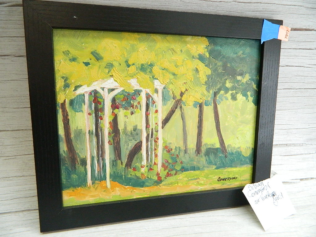 AA7917- Original Acrylic Painted by Susan Comerford Signed 'Our Backyard' Framed Picture '9.75x11.75in'
