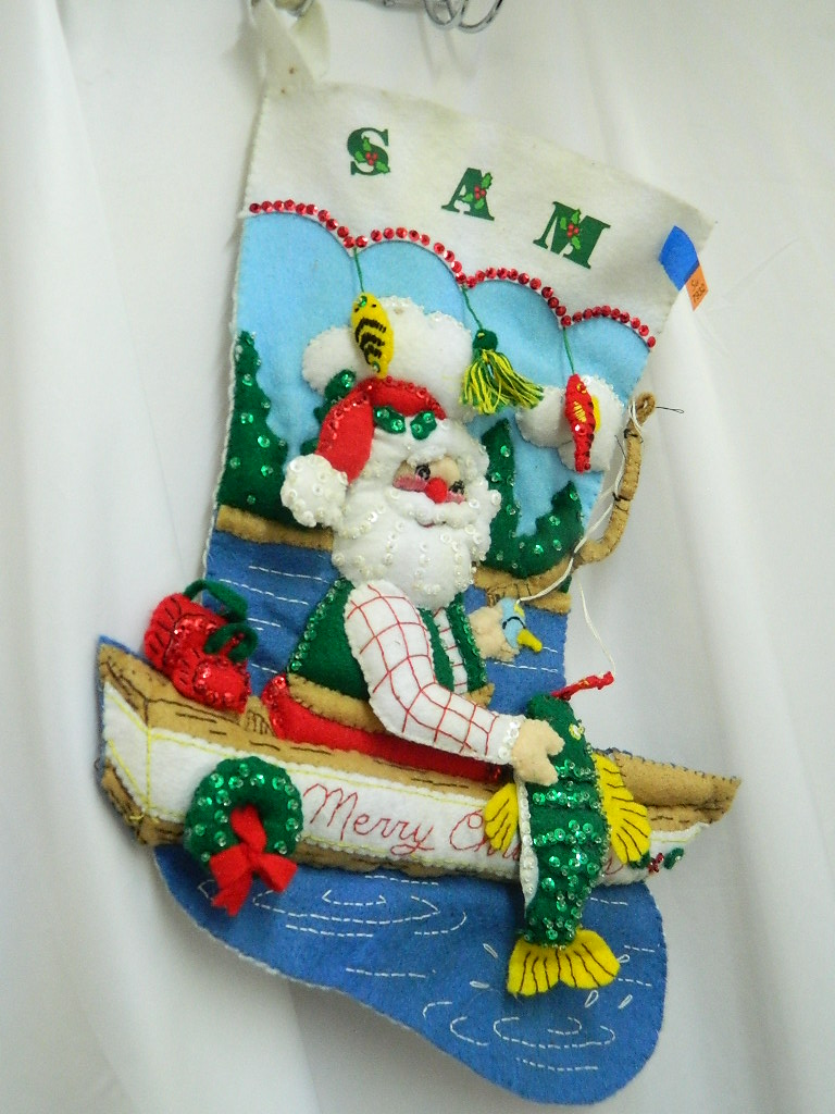 SG7932- Large Hand Made Personalized SAM Super Cute Vintage Santa Fishing Themed Felt Made Christmas Stocking '16x12in'