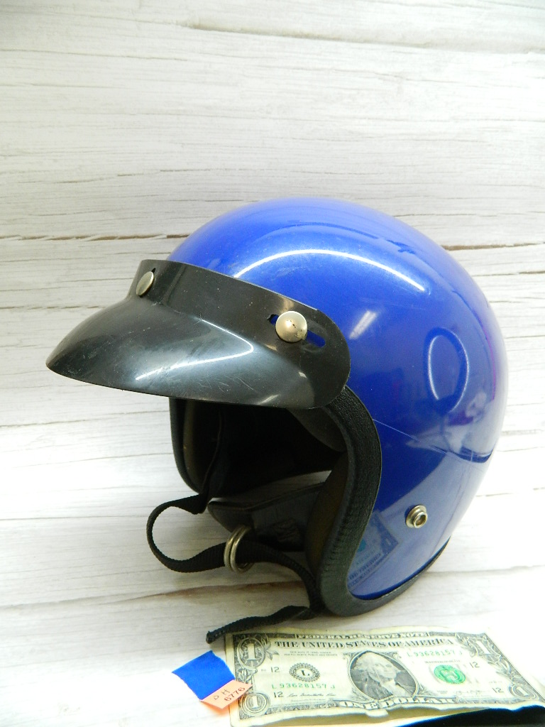 BH6776- Vintage Looking Royal Blue Size Small? Motorcycle Riding Helmet Slightly Damaged W/Visor
