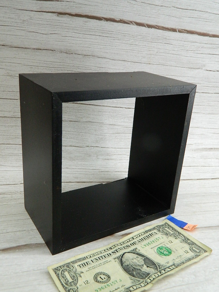 SM68881- Wooden Made Black Painted Heavy Duty Hanging Wall Shelf '3.5x6.5x6.5'