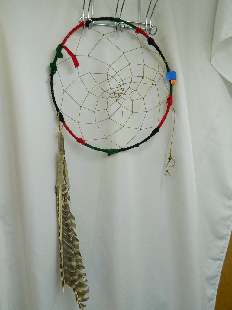 BL8009- Large Vintage Multi Colored Dream Cather w/ Leather and Feathers '13.75 Diameter'