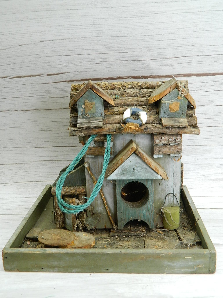 SG8367- Wooden Made Very Cute Seaside Fishing House Themed Bird House Damaged '8.5x9.75x8in'