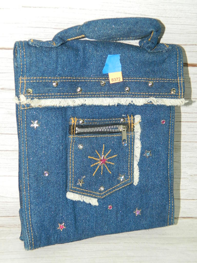 AA8372- Very Cute Blue Jean w/ Glitter and Bedazzles Themed Handled Insulated Lunch Bag '10x8.5x4in'