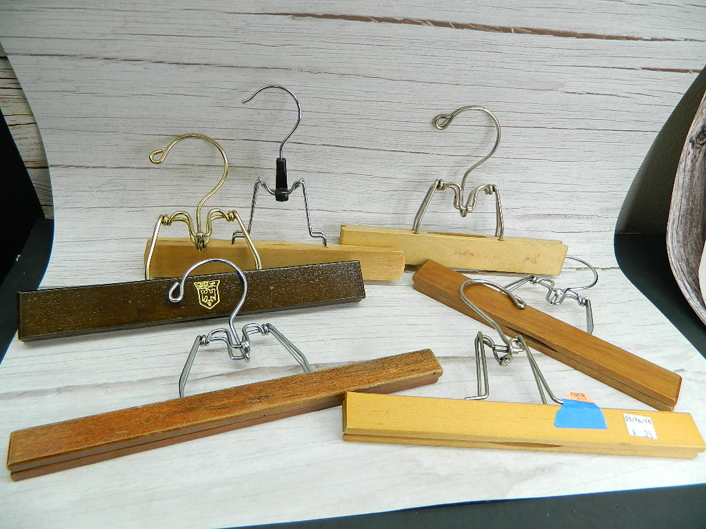 OE8382- Collection of 6 Wooden and Metal Made Clamp Pants/Skirt Hangers