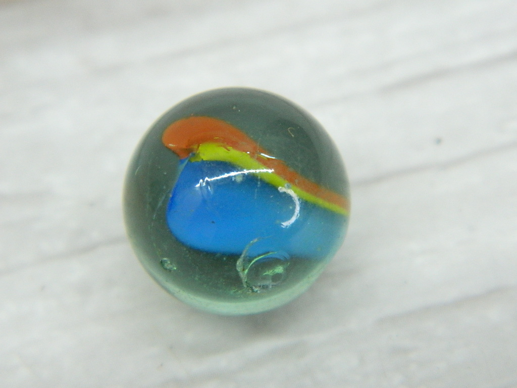 CA8426- Vintage Collectible 'Clear, Blue, Yellow, Orange' Cat's Eye Glass Marble
