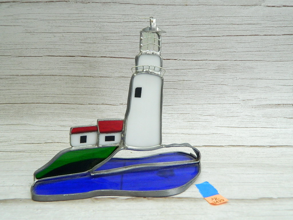 ML8429- Cute Stained Glass and Metal Lighthouse Table Top Decorative Item, Missing A Piece of Glass '6.5x7in'