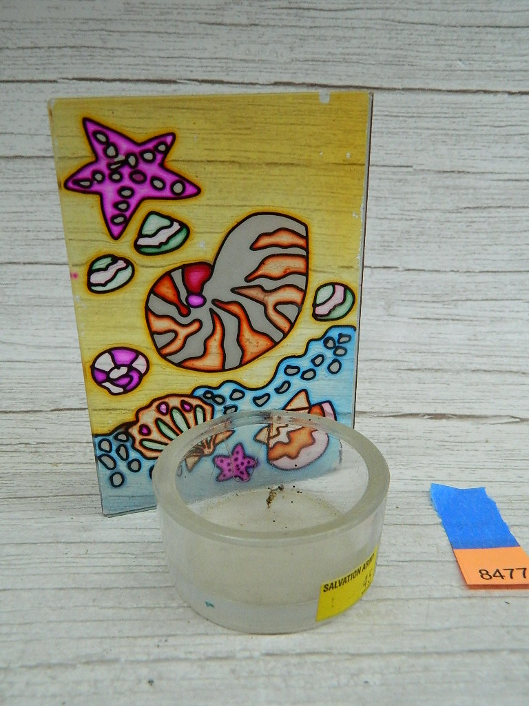 AA8477- Glass Stained Glass Ocean Themed Tea Light Candle Holder '4x2.75in'