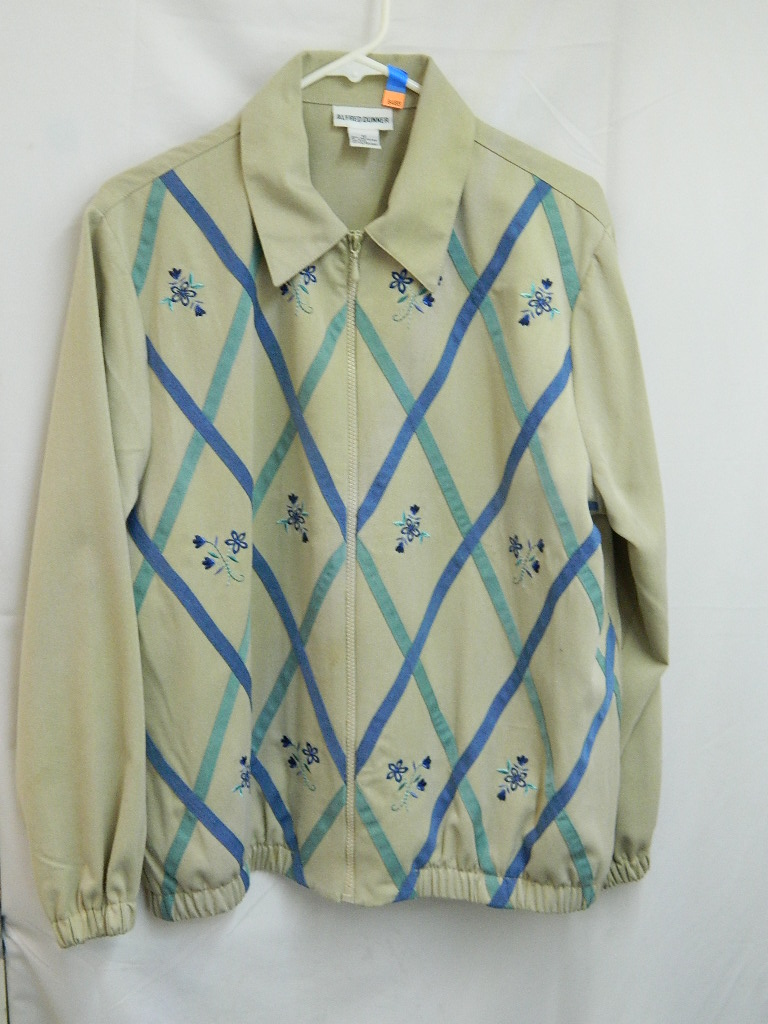 AA8488- WOMEN'S Size 12 ALFRED DUNNER Beige and Flower Stitched Jacket