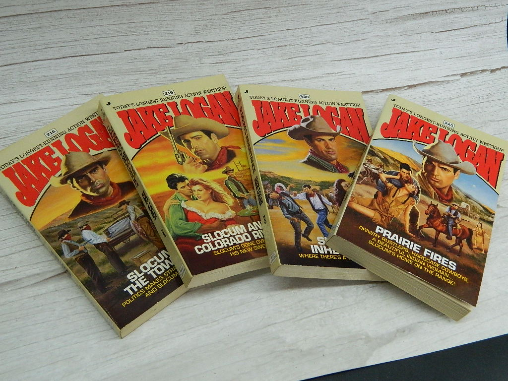 SG8501- Jove Western Books Set of 4 Jake Logan Books #216, 219, 220, 225 Published 1997 Great Reads