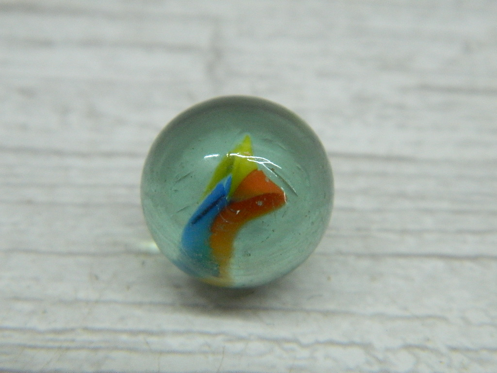 CA8520- Vintage Collectible 'Clear, Blue, Yellow, and Orange' Cat's Eye Glass Marble
