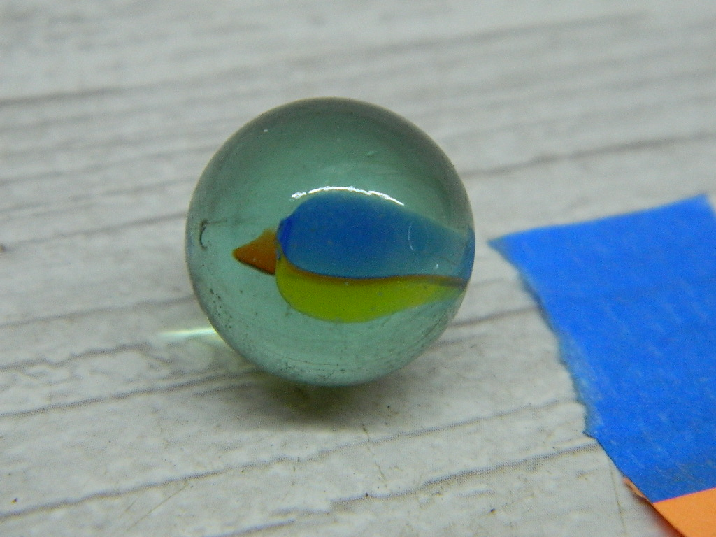 CA8529- Vintage Collectible 'Clear, Yellow, Orange and Blue' Cat's Eye Glass Marble