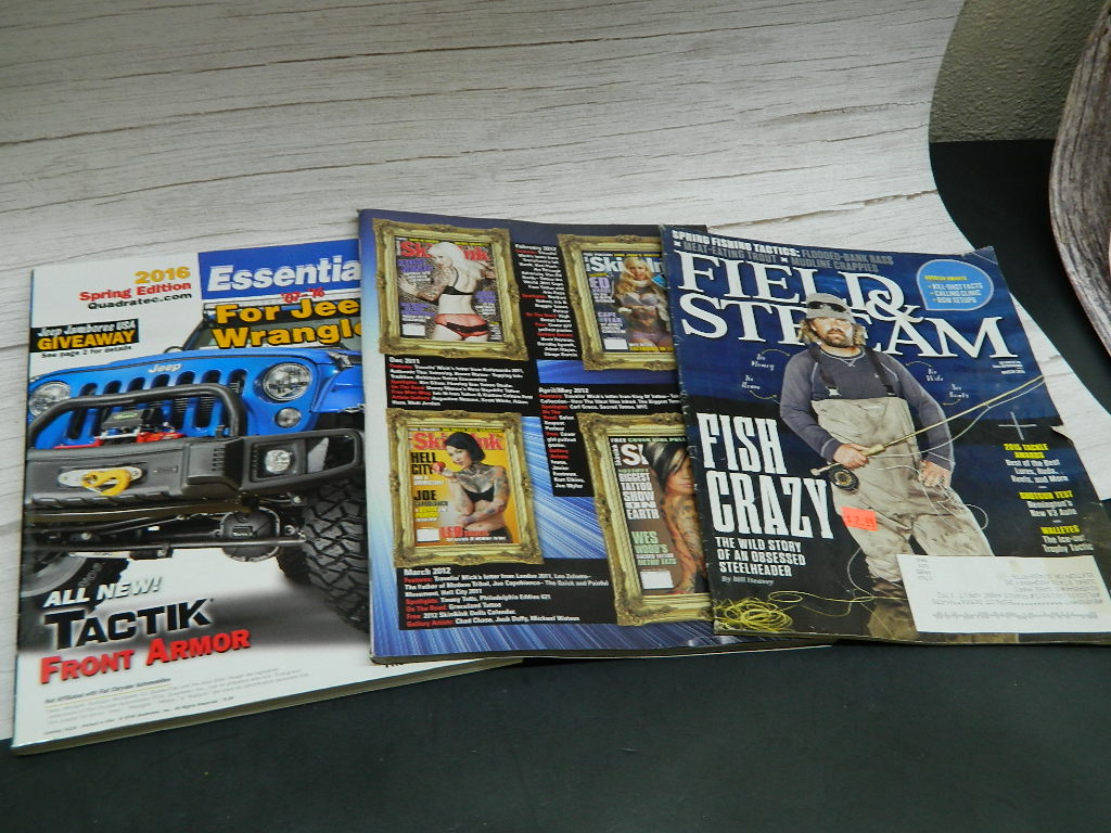 OE8530- Set of 3 Magazines for Jeeps, Tattoos, and Fishing Hobbies. Great Info Inside