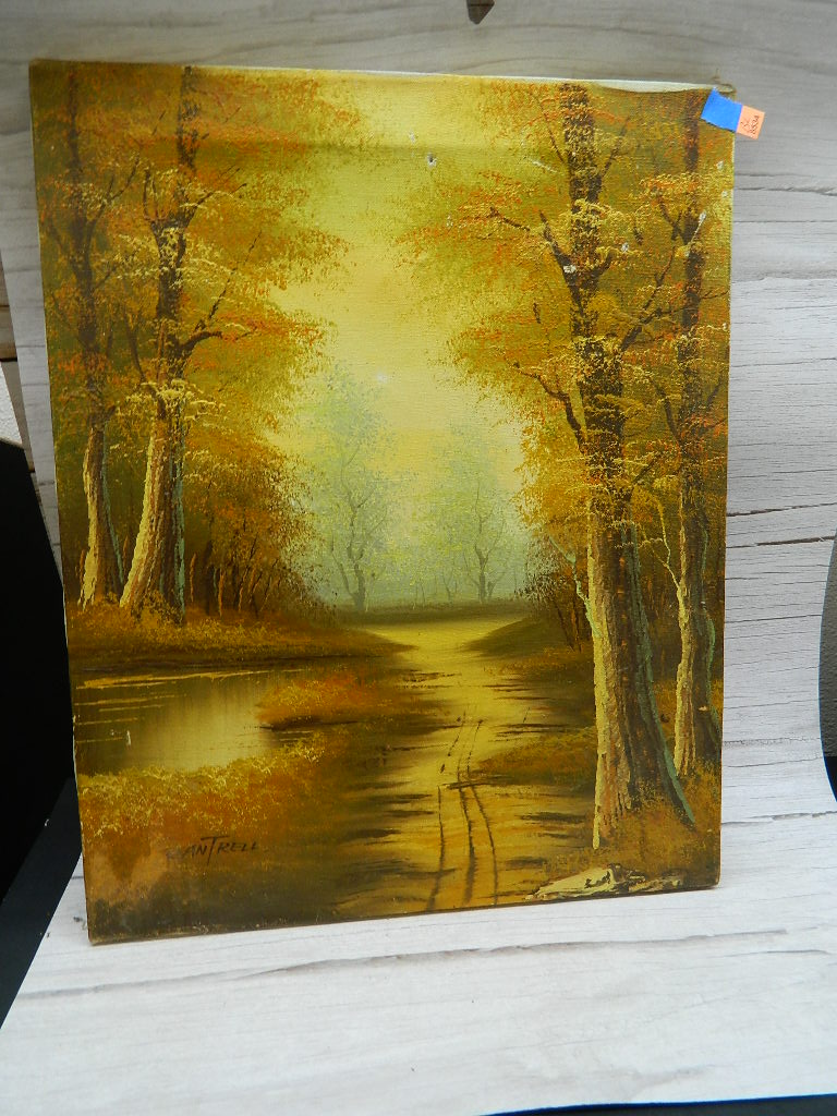BL8534- Original Signed CANTRELL Acrylic Painting of the Woods Damaged '20x16in'