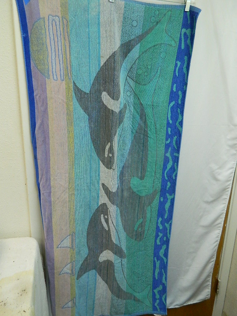 AA8536- Faded Orca Themed Beach Towel Just in Time